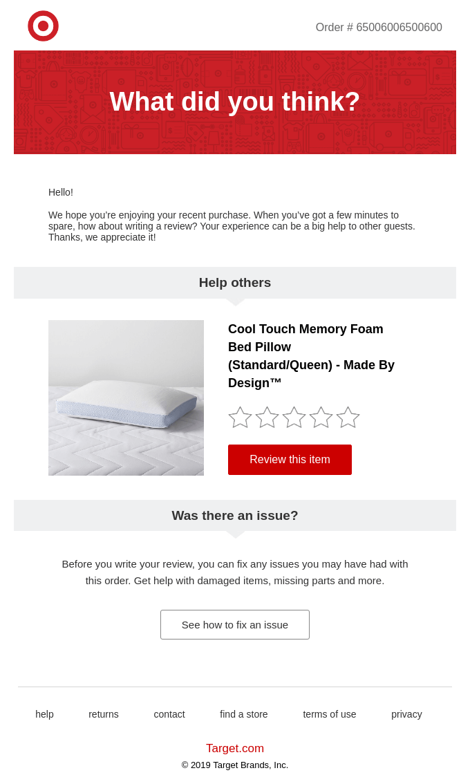 Ecommerce Email marketing - Feedback for product and service improvement