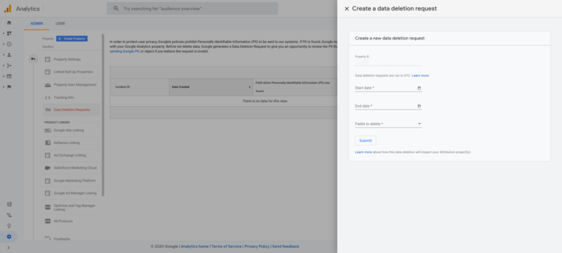 Google Analytics - New Reporting Data Deletion Tool