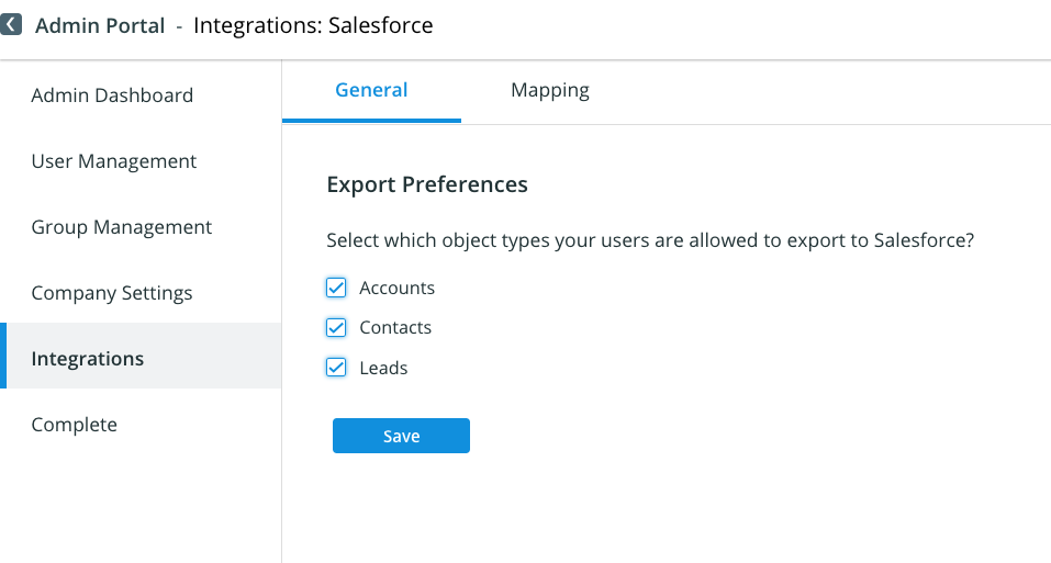 ZoomInfo Salesforce Integration - Export Preferences - General tab